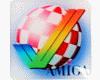 Gehäuseaufkleber Amiga Haken + Boing